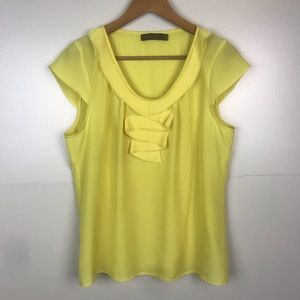 THE LIMITED Cap Sleeve Ruffle Accent Blouse Yellow
